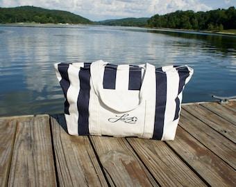 LAKE30 'Weekend' Lake Bag - Oversized Striped Cotton Canvas