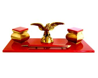Art Deco Inkwells Mounted on Cherry Red Glass Tray with Eagle  & Antique Red Fountain Pen Esterbrook