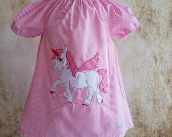 Unicorn tunic dress pink striped short-sleeved