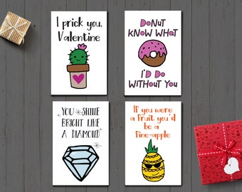 Cute and Funny Valentine's Day Cards/ Digital Art instant download/ Four 4x6 fun cards/ Perfect for kids or that special someone!