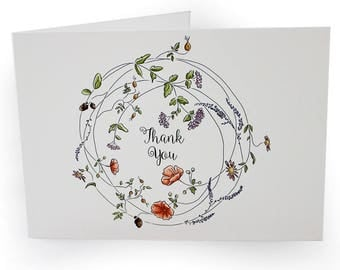 A6 Greetings Card - Thank You. Floral Wreath. Blank Inside