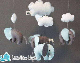 Dreaming Elephants Light Blue Baby Mobile, Baby Crib, Felt, Cloud Room Decoration, Nursery Decoration, Hanging Mobile, Handmade, Baby Gifts