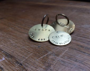 Personalized Hand Stamped Brass ID Tag, Dog Tag, Cat Name Tag, Per Tag, Dog Collar Name Tag, Metal Pet Tag