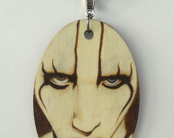 Marilyn Manson Antichrist Superstar Woodburned Portrait Oval Necklace
