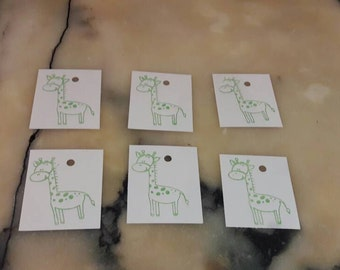 6 Green Stamped Giraffe Gift Tags