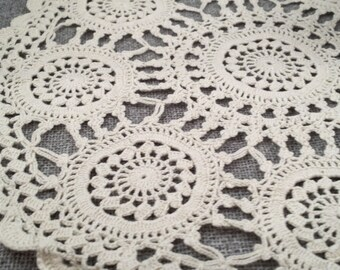Spring Sale - Vintage Lace Doily - Cream Lace Circle - Crochet Ivory Lace Doily - White Starburst Circles - Save 25%