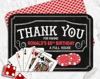 Casino Birthday Party Thank You Cards, casino, birthday, vegas, cards, craps, roulette, blackjack, gamble, digital file, printable