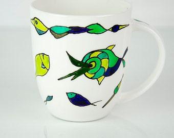 Good mood mugs, coffee mug, Tea Cup, decorative cups, porcelain cup, porcelain mug, gift for him and her