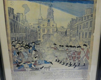 Large framed print of The Bloody Massacre - King Street Boston