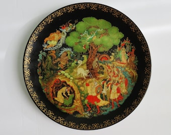 Folk Art Palekh Russian Legend of Alexander Pushkin '' Lukomorya'' Limited Edition Porcelain Collectors Plate #4