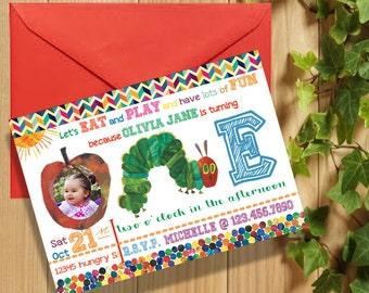 Caterpillar Birthday Party Digital File Invitation
