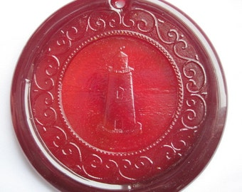Cape Cod Lighthouse Suncatcher Ornament Pressed Glass