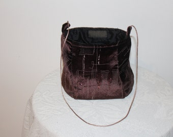 Chocolate Brown Velvet Handbag