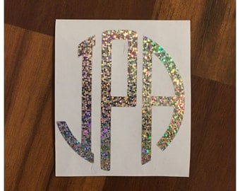 Holographic Monogram Decal Sticker for Car Window, Laptop decal,