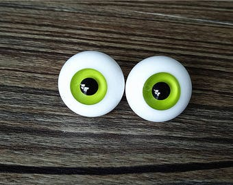 Custom made Green BJD Glass Eyes 6mm-22mm Handmade Glass Doll Eyes Lime Iris BJD Eyes with a handle for Doll Parts