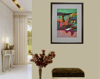 Landscape in green, Abstract, Pastel on paper, Modern art, Drawning, Mixed media, Abstract painting, Certificate, 19.7 x 13.8 in / 50x35 cm