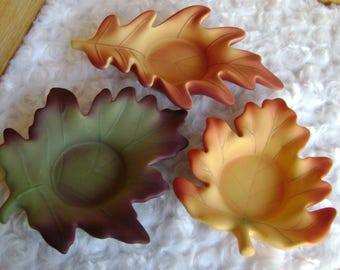 Partylite Candle Holder Whispering Leaves Tealite Trio Fall Leaves or Tealites