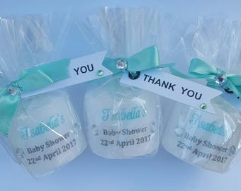 Tiffany Blue Baby Shower Favours. Personalised Candles.