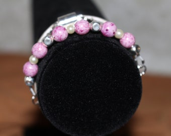 Pink beaded and leather wrap bracelet