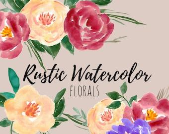 Watercolor Flower Clip Art - Rustic Clip Art -Watercolor Florals - Wedding Invites - Commercial Use