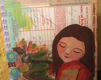 Burlington Original Mixed Media Print