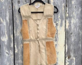60s Barbara Lee leather patchwork vest