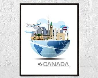 Canada print, Canada art, Canada poster, Canada map, Canada wall, Canadian print, Canada decor, Toronto poster, Toronto print, country map
