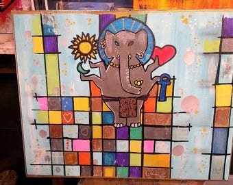 Stain Glass Ganesh 11x17 poster 39.99 All shop paintings available as 11x17 poster for 39.99
