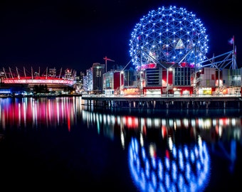 Science World Vancouver at Night, Science World at Telus World of Science, BC Place, Water reflection