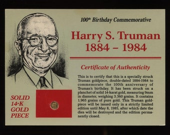 1984 100th. Anniversary (Harry S. Truman) 14-K Gold Coin