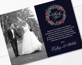 Wedding Thank You Card, Calligraphy Thank You Card, Handwritten, Navy Blue, Pink Roses, Photo Thank you Card, Printable, Downloadable