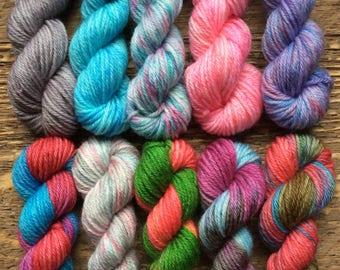 Hand Dyed Sock Yarn Mini Skein Set #60 -- 10 Mini Skeins/25 Yards Each/5.5 Grams Each