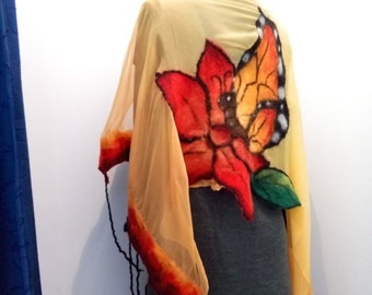 """Felted scarf """"Butterfly """"nuno felting scarf"""