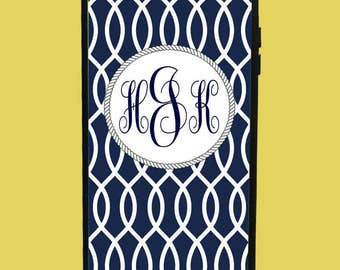 Deep Blue Design Phone Case with 3 initials.  Customized Name. Monogrammed Case. Personalized.