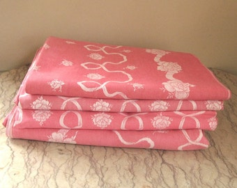 vintage French damask tablecloth in salmon pink