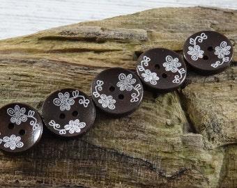 10 Wooden flower Buttons, Dark brown. 20mm. DIY crafts