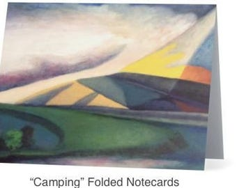 "Art Notecards (Set of 10) - ""Camping"" Folded Notecards printed from original oil paintings, Blank inside"