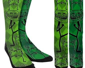 Troll Face Crew Socks - Trolls - Trolling - Unique Socks - Novelty Socks - Funny Socks - Crazy Socks - 100% Comfort - FREE Shipping
