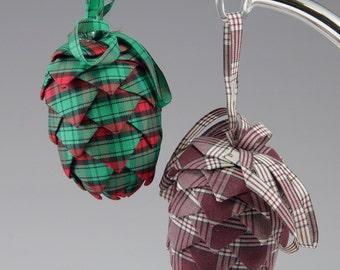 2 Vintage Handmade Plaid Pinecone Ornaments