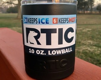 RTIC 10oz Powder Coated Lowball with Lid-Satin Black or Pick your Color!