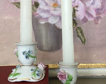 Pair of Vintage Bone China Candle Holders with Floral Decoration