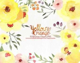 80% OFF! Watercolor Flora Clipart, Flowers Clipart, Flower, Floral, PNG, Clip Art, Watercolour, Yellow, Orange, F015