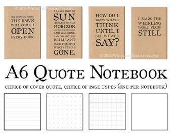 Writer Quote Journal, A6 Pocket Kraft Notebook  Recycled Bullet Journal Bujo   Bookish Office Gift Desk Stationery   Ruled Grid Plain Pages