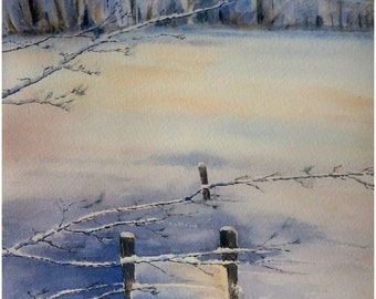 Original watercolor, painting of a frozen pond, snowy landscape