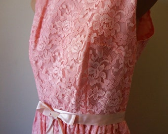 OZ WINTER SALE ** Was 155.00   Cute as a Button Pink Lace Party Dress  w Ribbon Bow