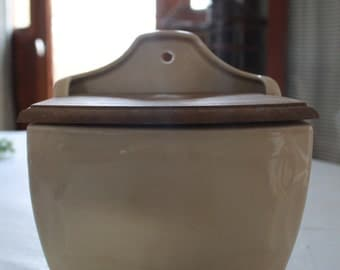Salt storage box rare, ceramic,cream, French antique country style deco