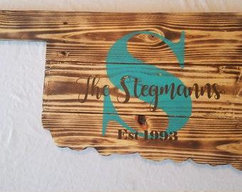 Oklahoma sign, customized sign, wood burned