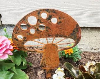 garden decor metal garden mushroom garden art yard decor metal garden decor - Orange Garden Decor