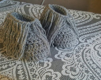 Fringe sparkly baby girl booties