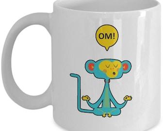 Meditating Yoga Monkey - Om - Buddha - Zen - Yin Yan Meditation Coffee Mug